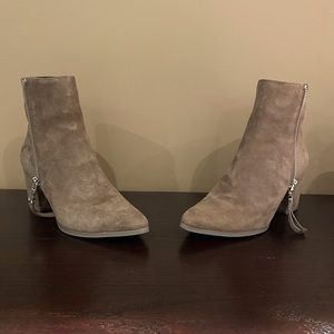 Michael Kors Taupe Suede Dawson Mid Bootie